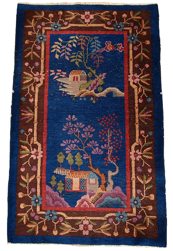 HAND MADE ANTIQUE ART DECO CHINESE RUG  Very decorative antique Chinese rug in night blue shades. This rug has truly unusual combination of colors: night blue field and chocolate brown border. Beautiful branch full of flowers surrounding this carpet along it's border.   http://www.oneroyalart.com/store/p147/Hand_made_antique_Art_Deco_Chinese_rug_3%27_x_4.10%27_%28_91cm_x_150cm_%29_1920_-__1B375.html