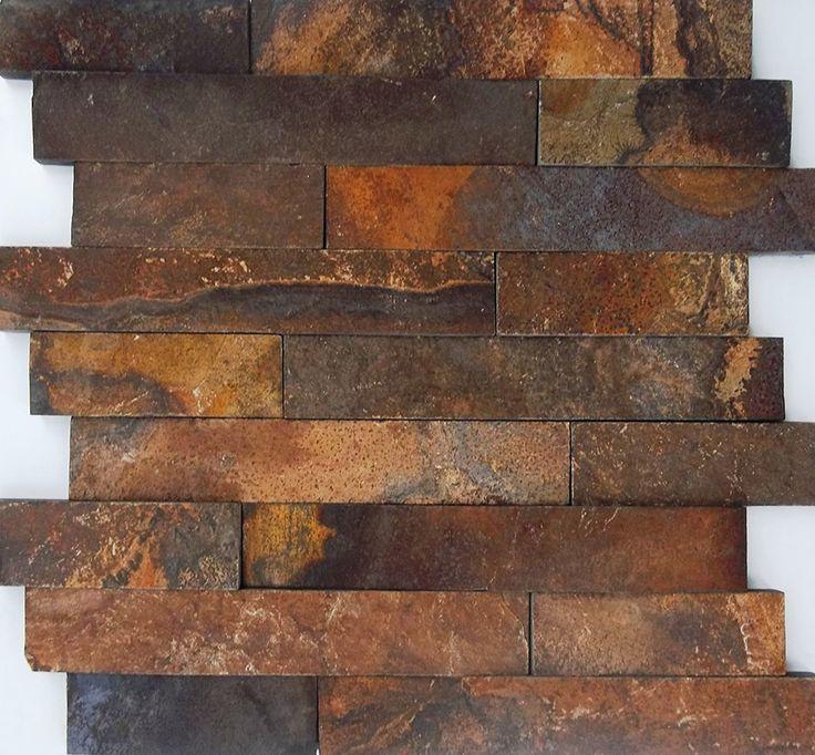 Mosaico de Pedra Ferro para revestimento de áreas internas e externas, paredes de salas e escadas, lavabos, lareiras, churrasqueiras e fachadas.