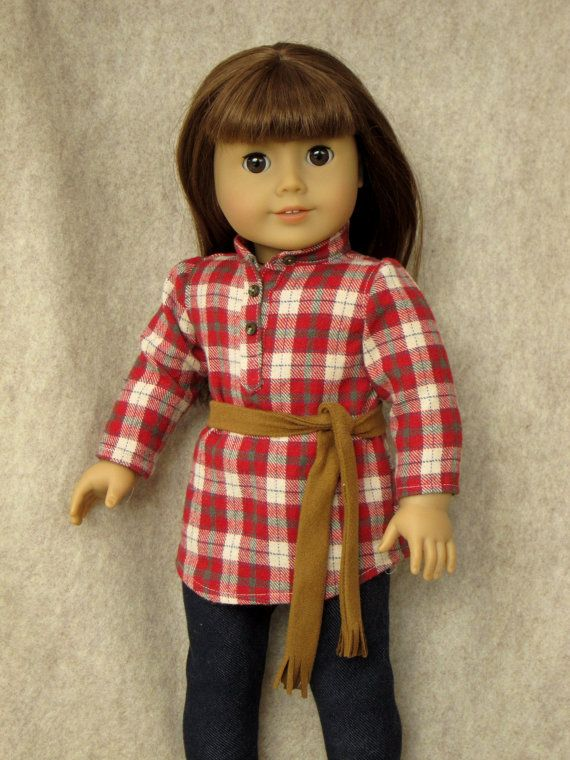 Flannel Tunic for AG or slim 18 dolls by jenwrenne on Etsy