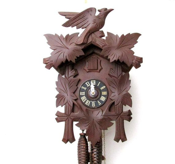 Vintage wooden cuckoo clock with a regula movement made in germany mechanical one day cuckoo - Wooden cuckoo clocks ...