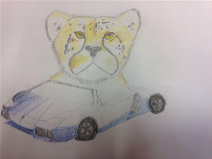 Dit is mijn eindwerk na 3 weken. Ik ben begonnen met het kleuren van de auto met schaduwen. De volgende les ga ik verder met de auto en de schaduwen mooi afmaken.