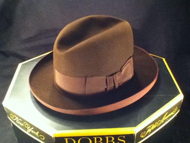 Vintage Brown Dobbs HOMBURG Fedora Hat w/ Box -- Size 6 7/8 -- Exc Cond! (Warning : 6 7/8 US = 55 France