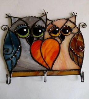 Stained glass Owl.Housekeeper stained glass . Оwl family. Hanging Décor.Glass Art.Stained Glass Bird.Beautiful gift.Home dekor.