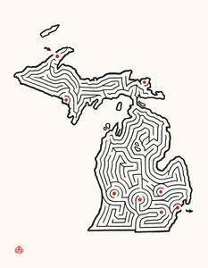 "Michigan State Maze 14x18"" Offset Print"