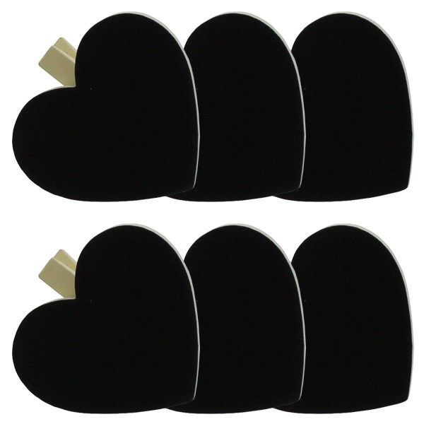 Tavle Hjerte m. Cremefarvet Klemme - Pakke med 6. Hjerte størrelse: 5 cm. x 5,6 cm. Lavet af træ og sort tavle. Søde hjerter til bryllup, forlovelse og barnedåb, f.eks. som navnekort eller til buffeten.