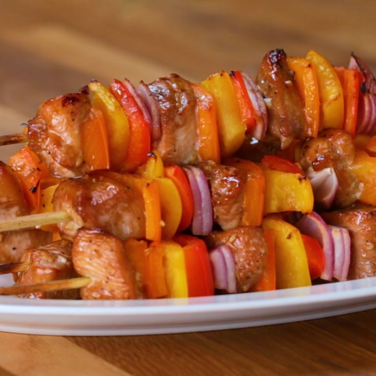 Honey-Garlic Chicken & Veggie Skewers Find a honey substitute maybe? Or look for a sugarless marinade No Skewers, just bake on a roasting rake