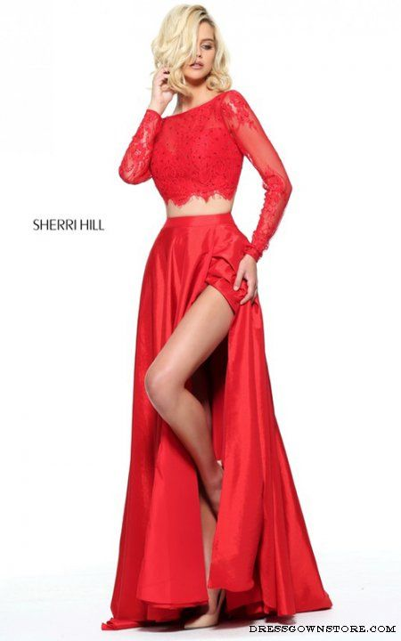 Red Sherri Hill 51065 Long Sleeve Two Piece Prom Dress