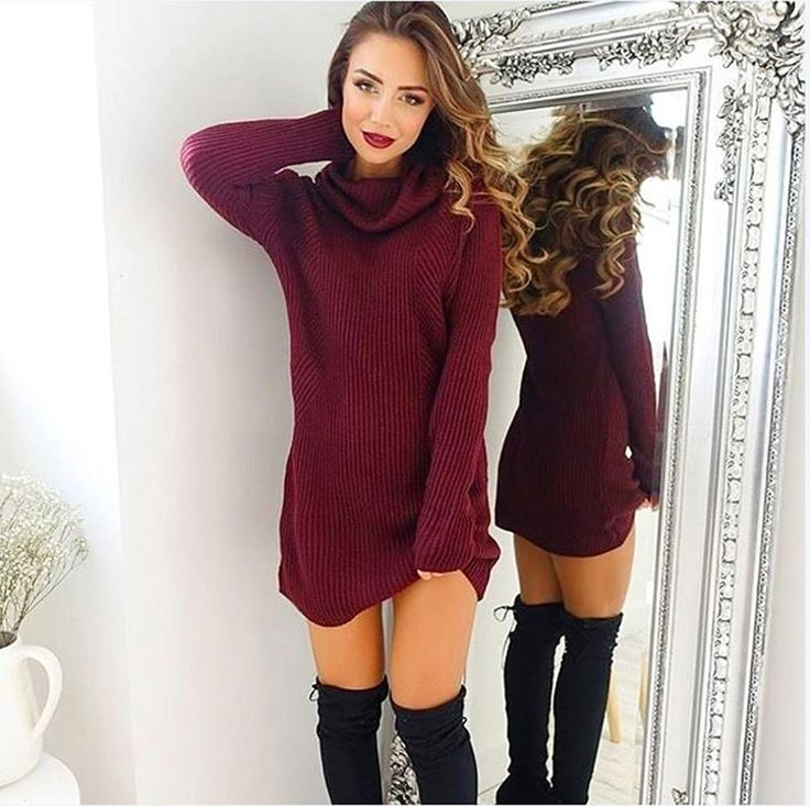 Amazon.com: VESNIBA womens Casual Long Sleeve Jumper Turtleneck Sweaters Coat Blouse (L, Wine): Clothing