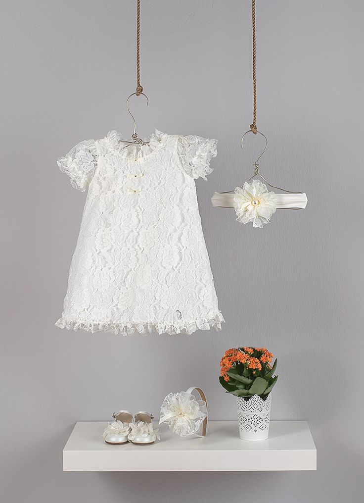 """Ecru dress in line """"A"""" in  lace and satin decorative bows  Ecru elastic band with handmade flower in lace fabric  Ecru satin Head band decorated with handmade flower in lace fabric"""