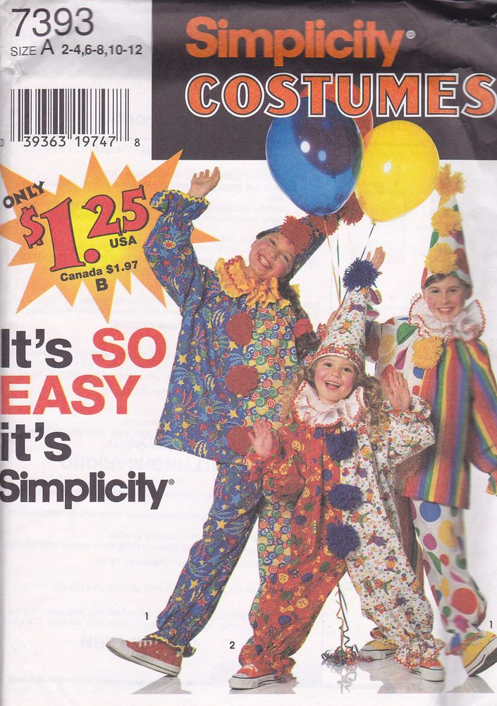 halloween clowns costume children simplicity pattern 7393 sizes 2 12 nip easy simplicity - Childrens Halloween Costume Patterns