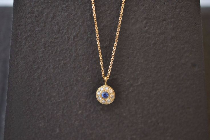 Evil Eye Gold Necklace Solid 18k Gold Necklace New Mom Gold Necklace Tiny Karma Necklace Gold Minimal Pendant Blue Evil Eye Gold Necklace by ViazisJewelry on Etsy