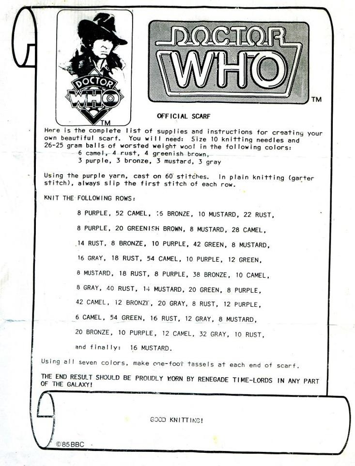 Doctor Who scarf directions, circa 1970s. Released by the BBC in response to fan inquiries!
