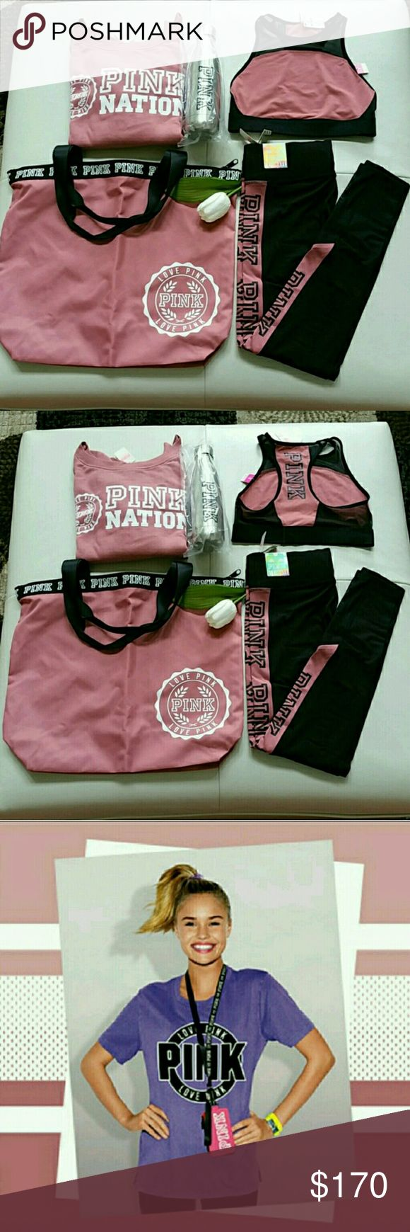 New Beautiful Pink Victoria Secret Set Size Small. Brand new beautiful pink victoria secret set size small.  Never use, never worn, never try.  Slouchy crew sweatshirt with logo.  Unlined sports bra with logo.  Ultimate yoga legging with logo.  Tote bag with logo.  Metal waterbottle with logo.  Lanyard  ID wallet color Black . Smoke and pet free home    Fast shipping + extra gift.  I don't trade hun. PINK Victoria's Secret Other