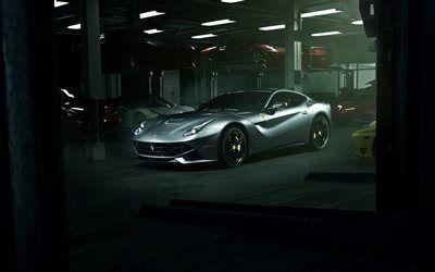 Scarica sfondi ferrari, auto sportive, ferrari f12berlinetta, garage, supercar, f12
