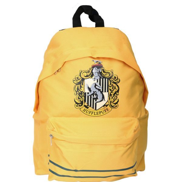 Hufflepuff Backpack ($46) ❤ liked on Polyvore featuring bags, backpacks, beige bag, day pack backpack, backpack bags, daypack bag and strap backpack