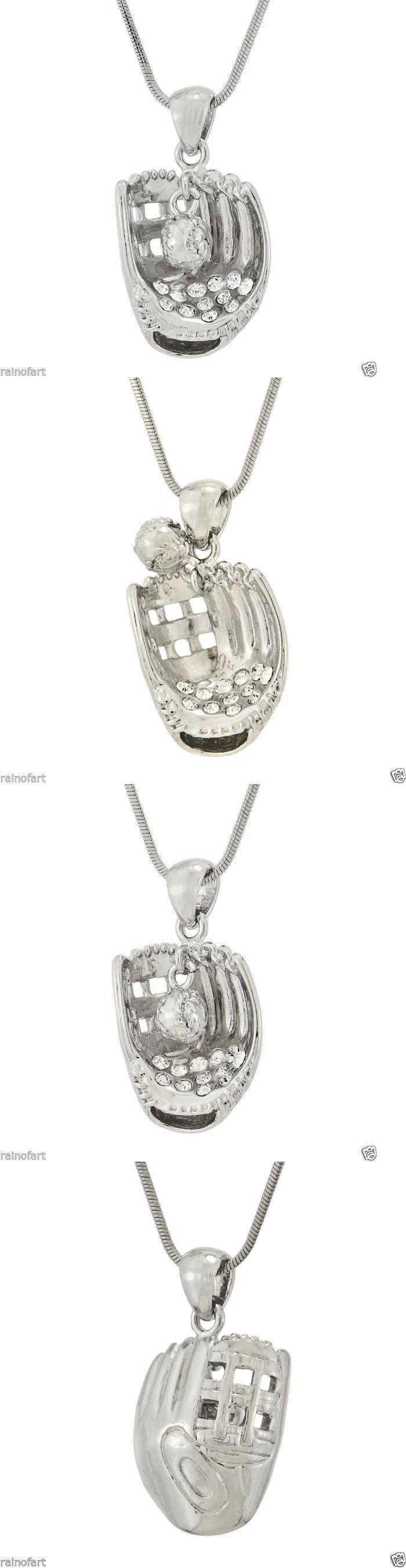 Necklaces and Pendants 155101: W Swarovski Crystal Baseball Softball Glove Ball New Pendant Necklace Gift BUY IT NOW ONLY: $32.0