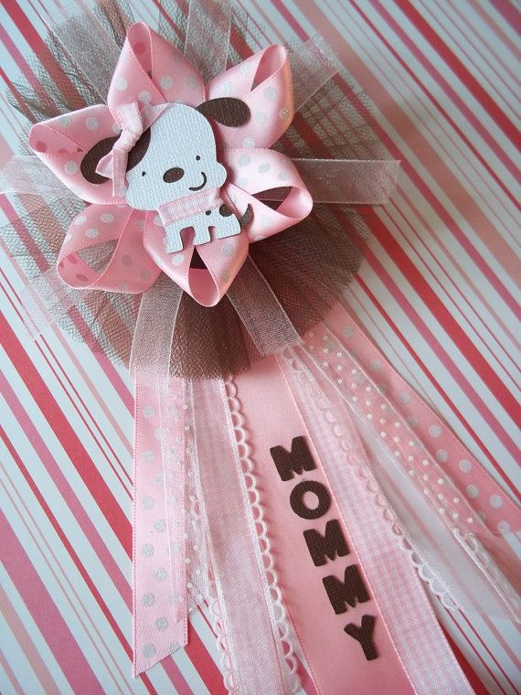 Puppy Baby Shower Mommy CORSAGE in Pink and Brown by PartyHoppers, $18.00. Love this and could possibly even try to make a homemade version :)