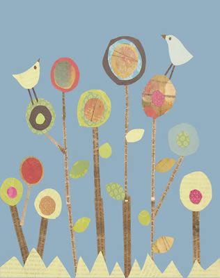 Cute print Wild Flower, Auction Art, Lollipops Trees, Art Inspiration, Flower Prints, Schools Auction, Art Ideas, Birds, Art Projects