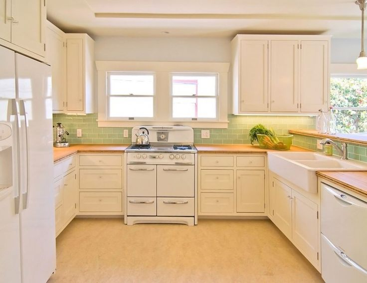 Cream Kitchen Cabinets With Green Backsplash Feat Stove And Refrigerator On Cream Floor With White Cabinets Kitchen Design  And Cream Colored Kitchen Cabinets Photos