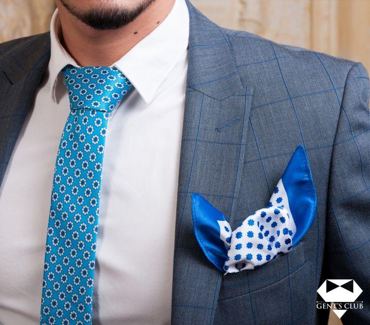 Accessories for gentlemen. Gent's Club brand Set cravata, batista. Tie, handkerchief. www.gents-club.ro