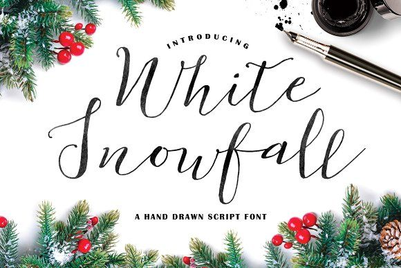 White Snowfall Script Font by Creativeqube Design on @creativemarket