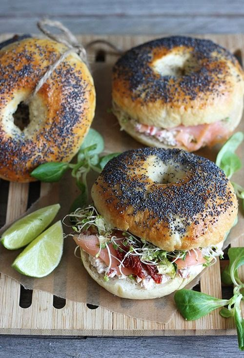 Bagels with smoked salmon and cream cheese with sun-dried tomatoes