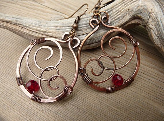 wire wrapped jewelry, handmade, Copper Earrings Red Bead, Dangle Earrings, Red Jewelry, Wire Earrings, Hand Made Jewelry, Hammered Etsy