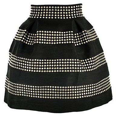 Moda Mujer Marca mullido Rivet cintura alta falda corta – USD $ 26.59