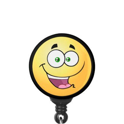 Happy Emoji Name Badge Holder - image gifts your image here cyo personalize