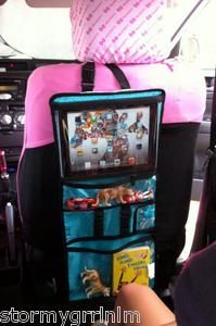 This is brilliant!  Thirty One Gifts Timeless Beauty Bag.  Great idea to keep kids stuff contained in the car!  And it fits an iPad!!!