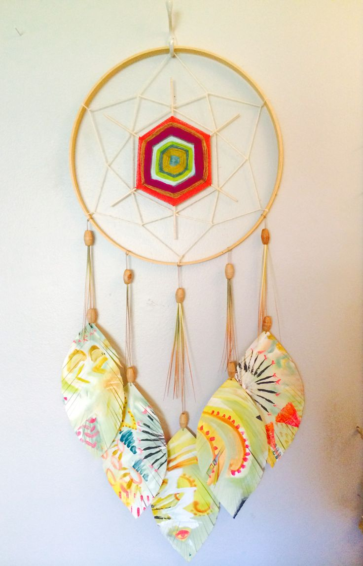 Sacred geometry dreamcatcher with woven center and painted ...
