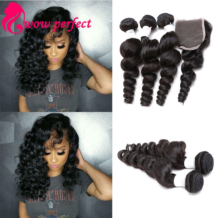 loose wave with closure 7a brizilian virgin hair with closure wet and wavy with closure loose curly human hair with closure