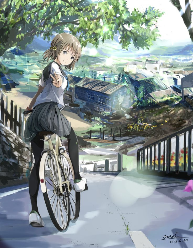 ✮ ANIME ART ✮ anime. . .school uniform. . .seifuku. . .sailor uniform. . .bike. . .peace sign. . .cute. . .kawaii
