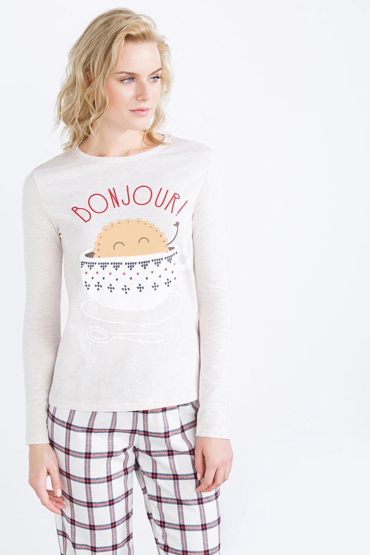 Long checked flannel pyjama