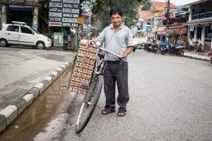 """I haven't crashed with a full load. Yet.""  #nepal #eggs #bike #crash"