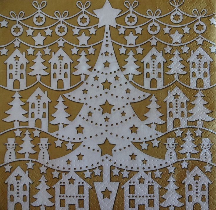 4 Christmas Tree Napkins, Golden Holiday Napkins, Christmas Paper Napkins, Decoupage Napkins, Christmas Dinner Napkins (GOLDEN XMAS)