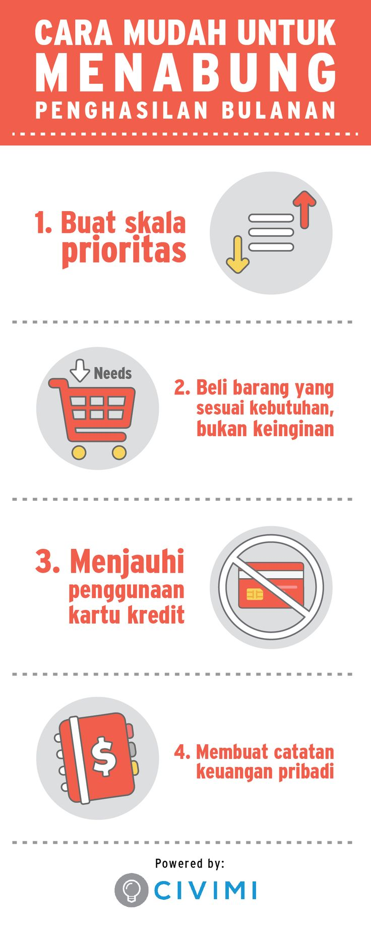 Tips untuk Menabung Penghasilan Bulanan kamu (Infographic)