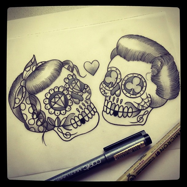 love skull tattoo... Chest piece with curly mustache  OMG - I want this as a cover to my current chest piece!!