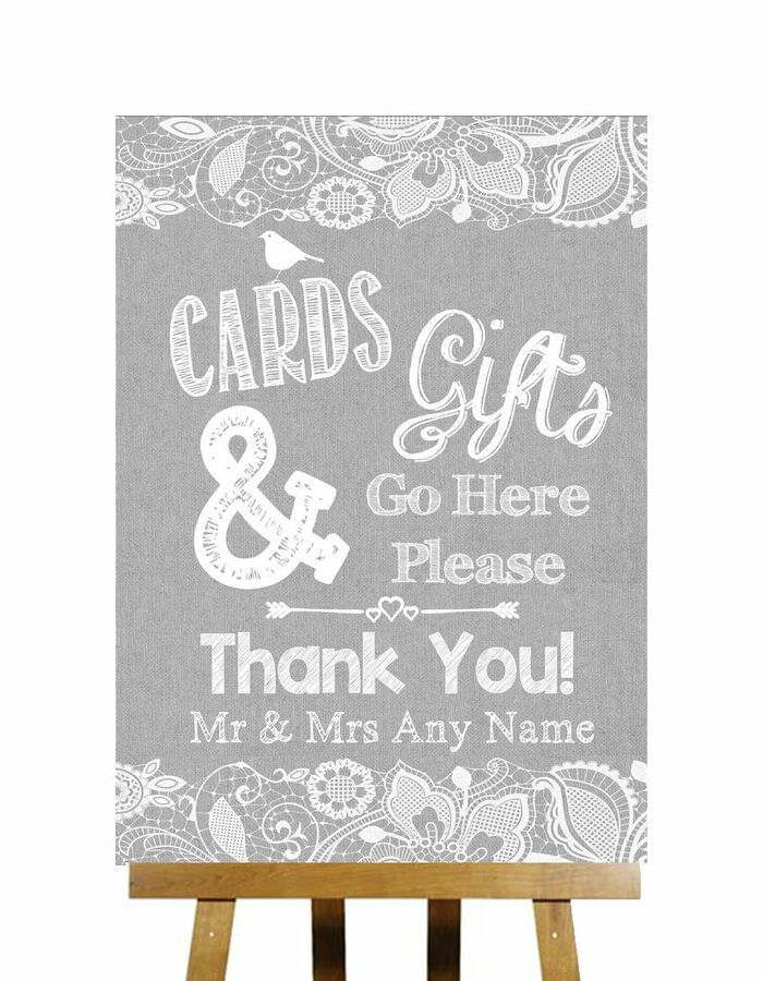 Fingerprint Designs Grey Burlap /& Lace Effect Cards And Gifts Post Box Personalised Wedding Sign Print