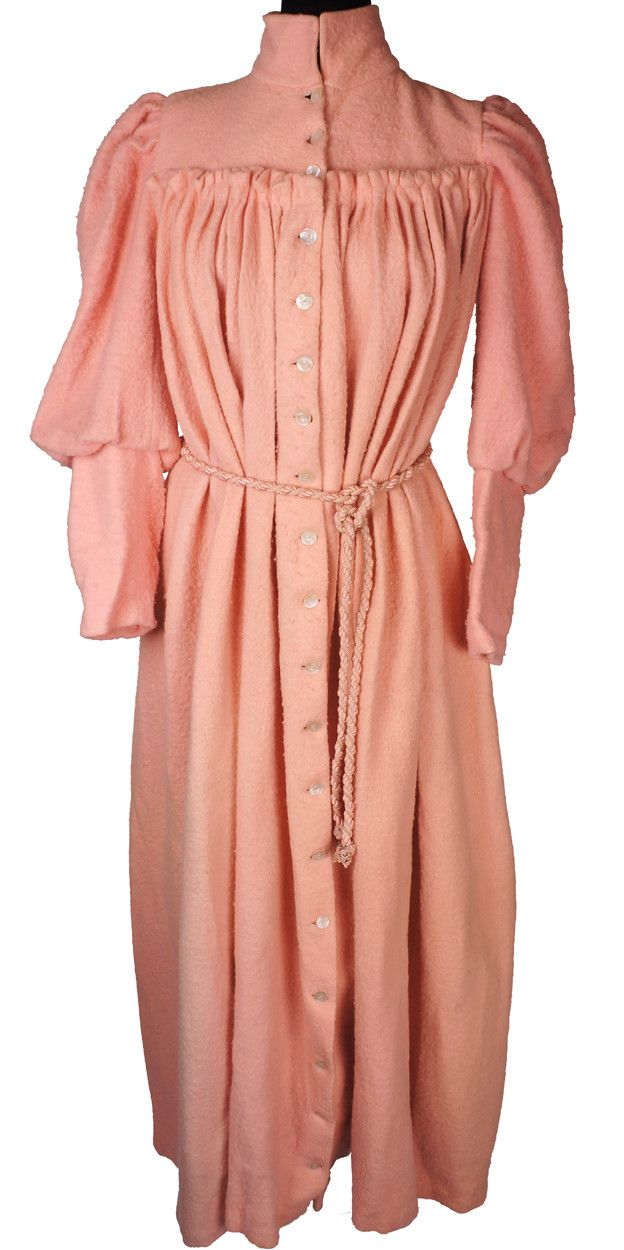 Victorian Dressing Gown Pink Fleece Wool Flannel With Leg