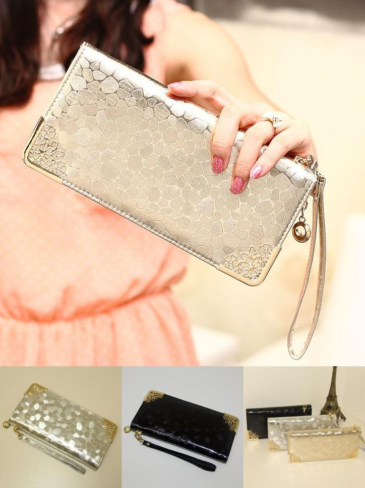 [Visit to Buy] Stone Pattern Women Long Wallet Zipper 2017 New Arrivals Female Korean Style Leather Purse gold silver Clutch Bag with Wrist #Advertisement