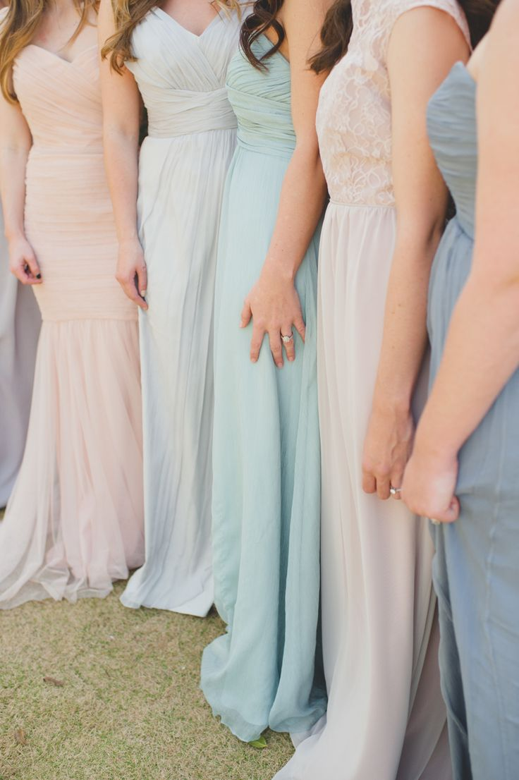Neutrals + pastels: http://www.stylemepretty.com//2015/07/27/mix-n-match-bridesmaids-dresses-youll-love/