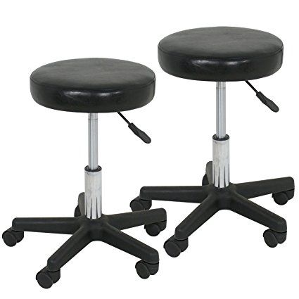 Super Deal Set of 2 Adjustable Height Facial Massage Spa Barber Tattoo Salon Stool Hydraulic Rolling Chair (Black)