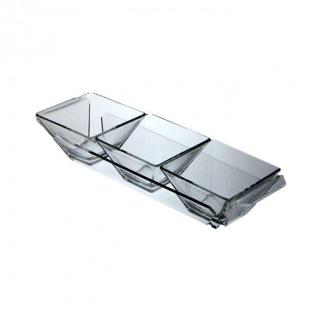 Antipastiera in plexiglass 3 scomparti