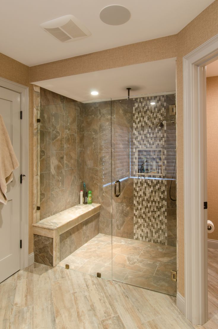 Shower Ideas Large Tile Shower With Custom Shower Seat Vertical Accent Tile Strip Custom