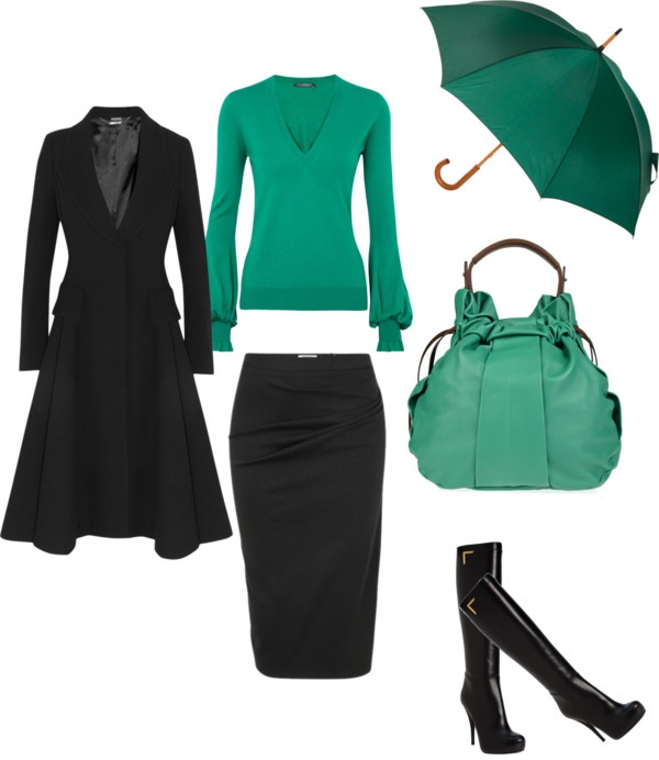 """""""work day"""" by sanitaalagic on PolyvoreWomen Fashion, Style, Closets, Green, Fashionskirt Outfit, Colors 2013, Work Outfit, Black, Clothing Work"""