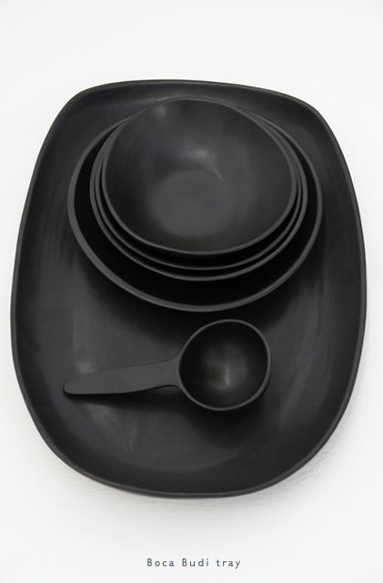 Black Pottery Bowls/Tray/Scoop