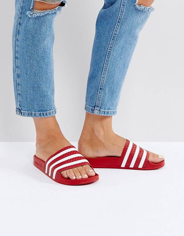 63a74eab4 adidas Originals Adilette Slider Sandals In Red