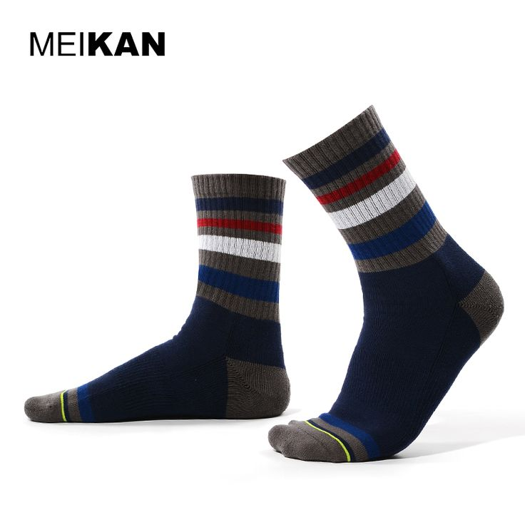 MEIKAN Men Stripe Socks Harajuku Cotton Sport Socks Winter Compression Cycling Socks Colorful Funny Print Calcetines Ciclismo