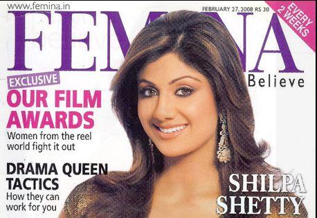 Shilpa Shetty on Femina cover page adorning Jet Gems jewellery!  #Actress #ShilpaShetty #bollywood #films #celebrity #patrons #magazine #famous #jewelry #design #designer #ornaments #diamonds #gems #earrings #danglers